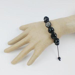 Black bead and rhinestone pull cords bracelet